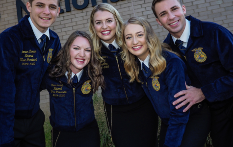 The 2019-2020 National Officers stand out in front of the National FFA. Headquarters located in Alexandria, Virginia. Standing left to right is Yomar Roman, Tess Seibel, Kourtney Lehman, Mamie Hertel and Kolsen Mcoy. (Photo courtesy of Tess Seibel)