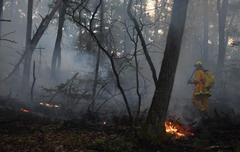 Firefighters in Beacon Falls approach a brush fire in 2016. Major wildfires have affected the West throughout 2020, although Woodbury fire chief Janet Morgan says major fires aren't common in Woodbury. (Photo contributed by Beacon Hose Co. No. 1)