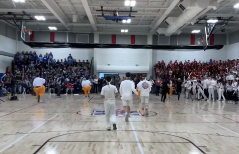 Although pep rallies, like this one from last school year, are not possible during the COVID-19 pandemic, the Spirit Club will continue to plan virtual activities to keep up school spirit.
