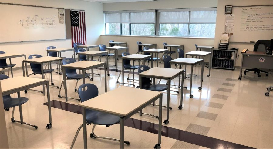 Most classrooms in Region 14, such as Kyle Brennan's B10 at Nonnewaug, will be mostly empty for the next two months due to the switch to fully remote learning.