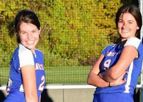 Nonnewaug field hockey players Lola Taylor and Victoria Canonico at their third game at Shepaug on October 8th (Picture courtesy of Carolyn Montero)