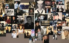 Photos of U.S. veterans with connections to Nonnewaug hang on a bulletin board outside the auditorium to honor their service.