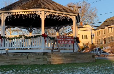 A sign on the Bethlehem Town Green informs residents that the annual Christmas festival was canceled due to COVID-19 precautions.