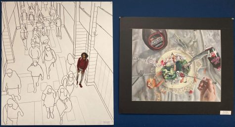 Pieces of art by AP Art students, such as those by seniors Mekhi Chambers, left, and Elyza Bruce, could earn awards through virtual competitions this year.