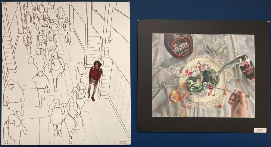 Pieces+of+art+by+AP+Art+students%2C+such+as+those+by+seniors+Mekhi+Chambers%2C+left%2C+and+Elyza+Bruce%2C+could+earn+awards+through+virtual+competitions+this+year.