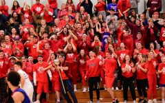 Nonnewaug students and parents cheer on the Chiefs during the second game of a girls-boys basketball doubleheader at Shepaug in February 2020. Scenes like this one didn't happen again this past winter due to attendance limitations during the COVID-19 pandemic.