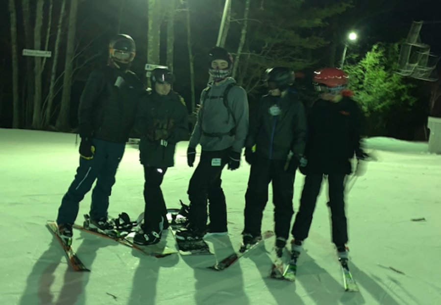 Nonnewaug sophomores, from left, Dylan Chung, Zack Hellwinkle, Braeden Purser-Eber, Andrew Greene, and Ben Shea enjoyed a nighttime trip to Ski Sundown last year.