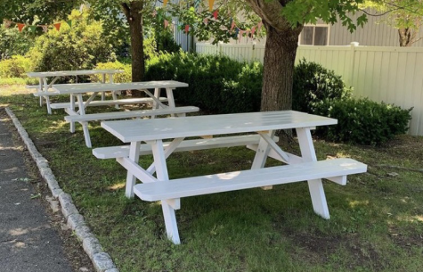 Craft shops such as the Golden Button in Woodbury were able to keep up business during the summer with outdoor spaces like these, but their extracurricular offerings have diminished due to cold-weather COVID-19 precautions.