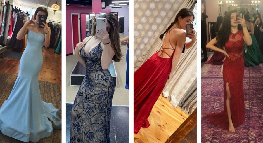 From left, Isabella Calvano, Amanda Taddeo, Victoria Canonico, and Lindiana Frangu purchased dresses for Nonnewaug's 2020 prom before it was cancelled. Upperclassmen are hoping their dresses won't go to waste again this spring.