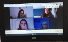 Drama Club students, clockwise from top left, Ally Roche, Gillian Brown, Rubie Lombardi, and Jordonna Oliveira join a Google Meet. The club hasn't been able to hold in-person meetings or rehearsals due to the pandemic.