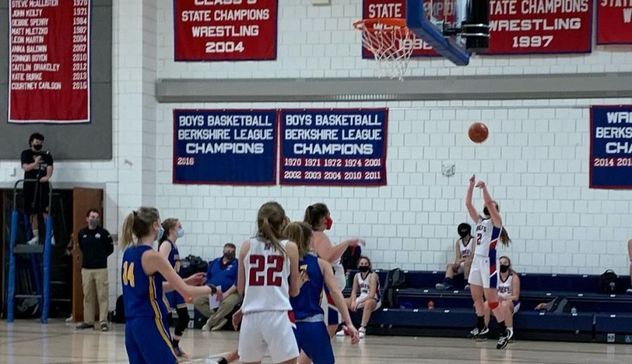 Nonnewaug's Erin Classey (2) hits a 3-pointer during the fourth quarter of the Chiefs' 40-20 win over Housatonic in the season opener Feb. 10.