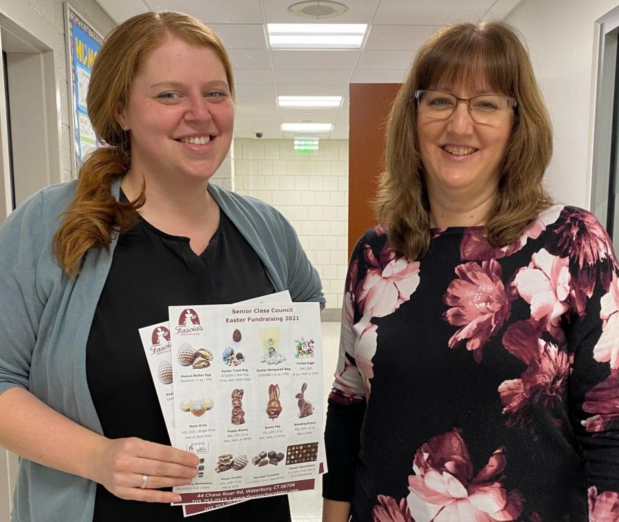 Nonnewaug's class councils have continued their fundraising efforts this year despite difficulties caused by the COVID-19 pandemic. Senior class council advisors, (from left) Kristen Pisano and Laurenn Bertoglio, organized the Fascia's Chocolate Fundraiser to help defray the expenses of events for the Class of 2021.