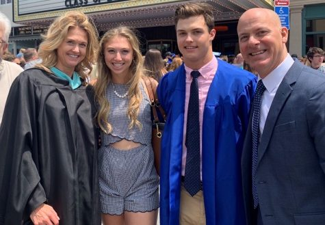 Nonnewaug principal Pam Sordi, left, poses with her family after her son, Nick (second from right) graduated from Nonnewaug.