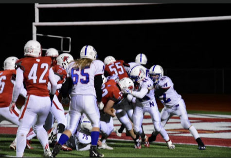 Nonnewaug's football team competes against Pomperaug in 2019. The Chiefs were supposed to form a varsity co-op with Sacred Heart and Kaynor Tech, but Sacred Heart's impending closing thrust those plans into jeopardy.