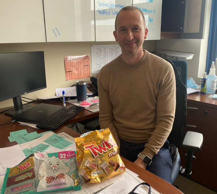 Guidance counselor Christopher Maclean is known for being accessible to students -- and for having a constant supply of candy in his office.