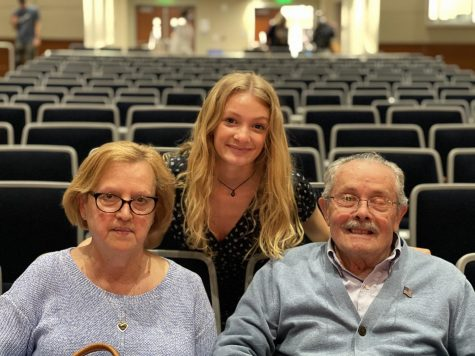 Kamden Bushka, NHS junior and National English Honor Society inductee, celebrates with her grandparents, Drita and Jim Bushka.