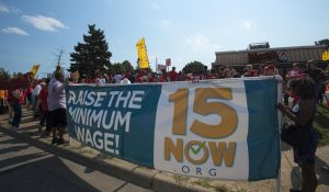 Protesters in Minneapolis call for raising the minimum wage to $15 per hour in September 2016.