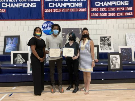 Congressional Art Competition winners Anna Goodwin, grade 11, and Mekhi Chambers, grade 12, stand with NHS art teacher Leeza Desjardins and Congresswoman Jahana Hayes.