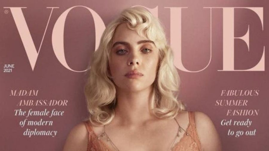 Known for her brightly colored hair and eccentric, baggy clothing, Eilish has recently been put in the spotlight for her controversial and revealing Vogue cover.