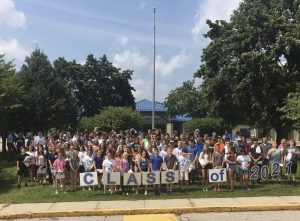 A photo of the NHS Class of 2021 on their first day of freshman orientation four years ago.
