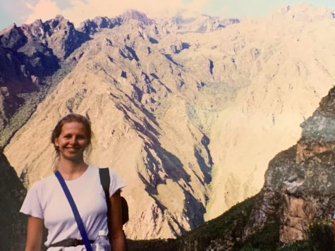 A photo of Nonnewaugs Library Media Specialist Maureen Vint hiking the famed 7,972-foot Machu Picchu.