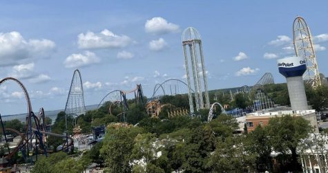 """The skyline of the """"Rollercoaster capital of the world"""" from their Ferris wheel."""